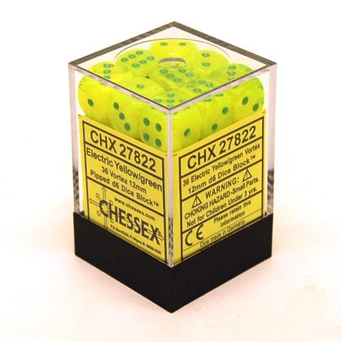Chessex: 12mm Dice Block - Vortex Electric Yellow w/ Green (36)