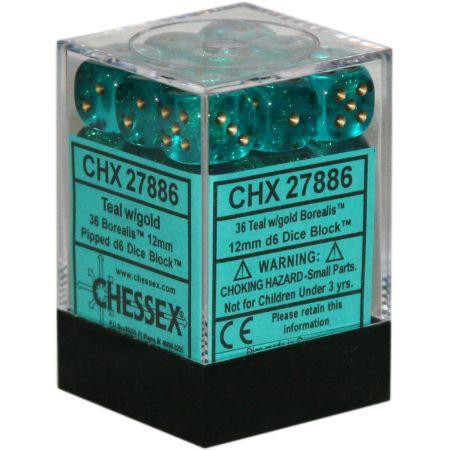 Chessex: 12mm Dice Block - Borealis Teal w/Gold (36)