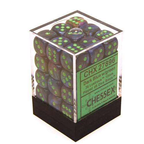 Chessex: 12mm Dice Block - Lustrous Dark Blue w/ Green (36)