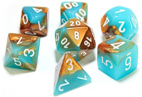 Chessex Polyhedral Dice: Luminary Gemini Copper & Turquoise / White