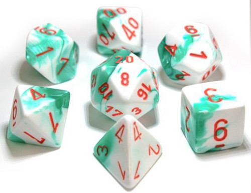 Chessex Polyhedral Dice: Lab - Gemini Mint Green & White / Orange (7)