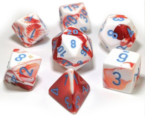 Chessex Polyhedral Dice Set: Lab - Gemini Red & White / Blue (7)