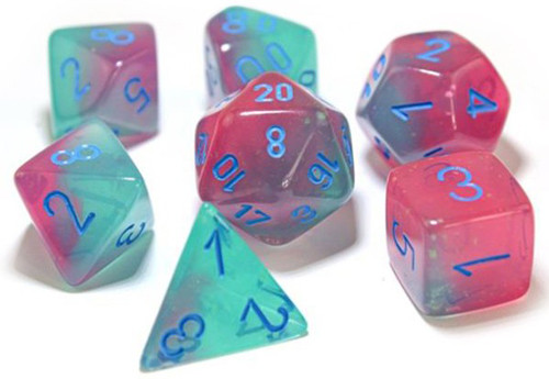 Chessex Polyhedral Dice: Lab - Luminary Gemini Gel Green & Pink / Blue