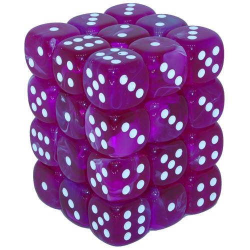 Chessex 12mm Dice Block: Vortex Violet/White (36)