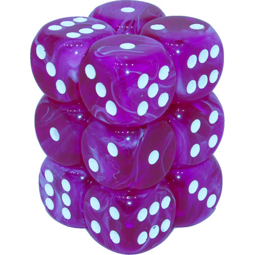 Chessex 16mm Dice Block: Vortex Violet/White (12)