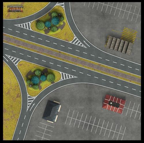 "TANKS The Modern Age: Berlin Autobahn Game Mat (36"" x 36"")"