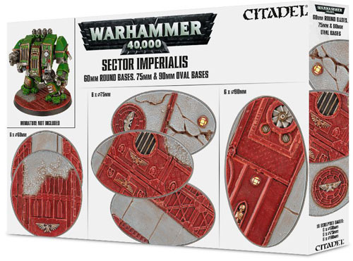 Warhammer 40K Sector Imperialis 60mm Round, 75mm Oval, 90mm Oval Bases