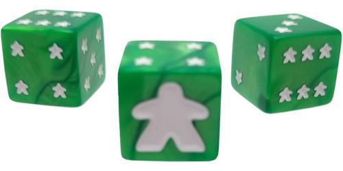 Meeple d6 Dice Set: 16mm Green (8)