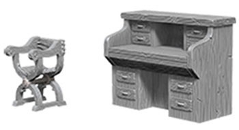WizKids Deep Cuts Unpainted Miniatures: Desk & Chair (2)